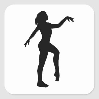Gymnast Silhouette Square Stickers