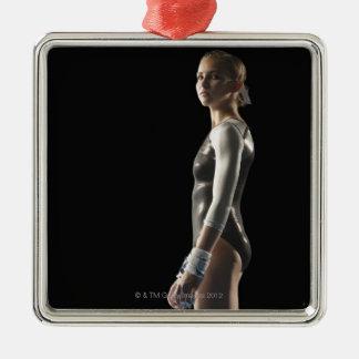 Gymnast Silver-Colored Square Decoration
