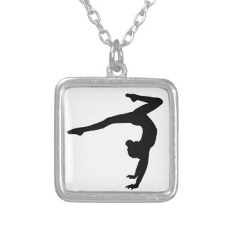 Gymnast Stag Handstand Gifts Silver Plated Necklace