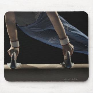 Gymnast swinging on pommel horse mouse pad