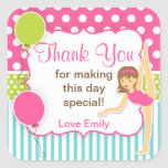 Gymnastic Birthday Favour Tag Square Sticker