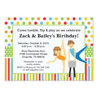 Gymnastic Boy and Girl Birthday Party 13 Cm X 18 Cm Invitation Card