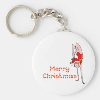 Gymnastic Merry Christmas Basic Round Button Key Ring