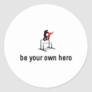 Gymnastic Uneven Bars Hero Round Sticker
