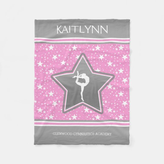 Gymnastics Among the Stars in Pink with YOUR NAME Fleece Blanket