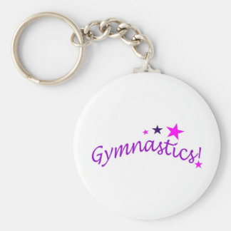 Gymnastics Arched with Stars Basic Round Button Key Ring