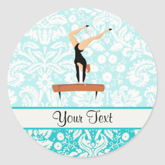 Gymnastics Balance Beam Classic Round Sticker