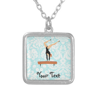 Gymnastics Balance Beam Silver Plated Necklace
