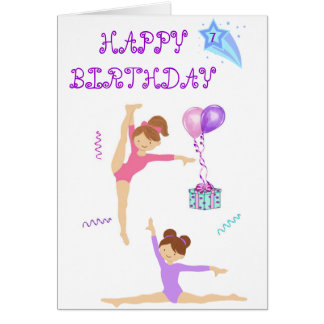 Gymnastics birthday card personalized