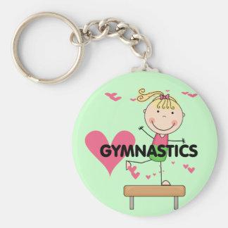 GYMNASTICS - Blond Girl Balance Beam Tshirts Basic Round Button Key Ring