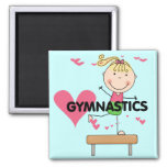 GYMNASTICS - Blonde Girl Balance Beam Tshirts Square Magnet