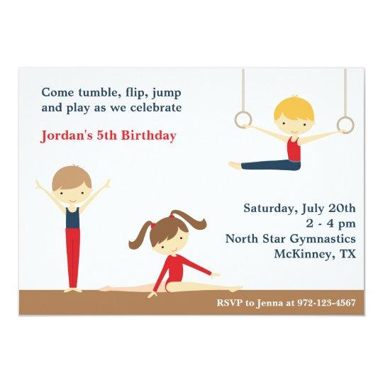 Gymnastics Boy and Girl Birthday Party Invitation