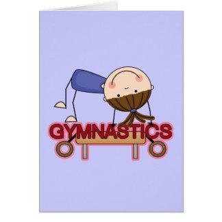 GYMNASTICS - Brunette Girl Balance Beam t-shirts Greeting Card