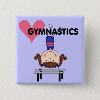 GYMNASTICS - Brunette Girl Handstands 15 Cm Square Badge