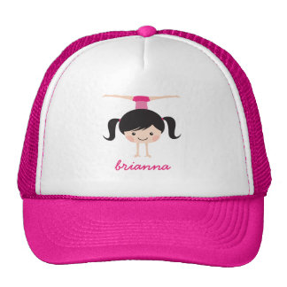 Gymnastics cartoon girl, personalized name mesh hat