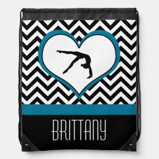 Gymnastics Chevron Heart with Monogram in Black Drawstring Bag