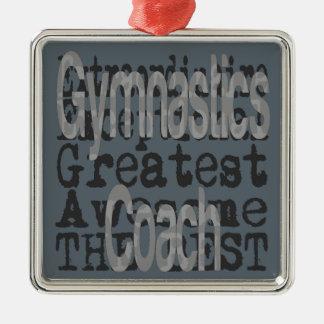 Gymnastics Coach Extraordinaire Silver-Colored Square Decoration