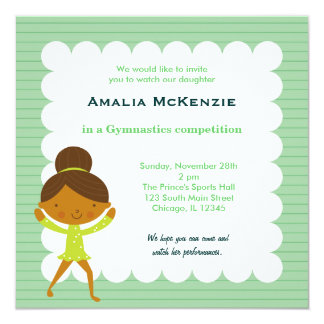 Gymnastics Competition 13 Cm X 13 Cm Square Invitation Card