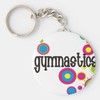Gymnastics Cool Polka Dots Basic Round Button Key Ring