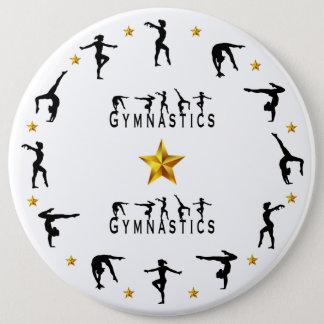 Gymnastics, Female, Gold Stars 6 Cm Round Badge