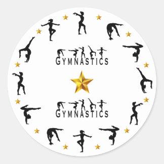 Gymnastics, Female, Gold Stars Classic Round Sticker