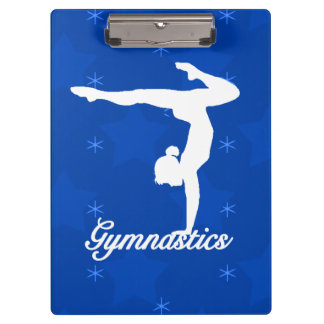 Gymnastics Girl Blue Stars Clipboard