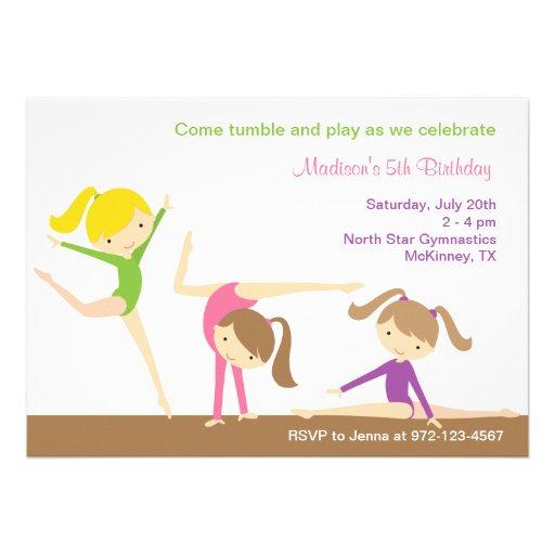 Gymnastics Girls Birthday Party Invitation Personalized Invite