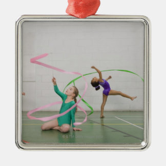 Gymnastics girls dancing with ribbons christmas ornament