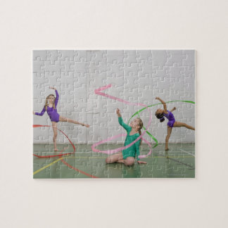 Gymnastics girls dancing with ribbons puzzle