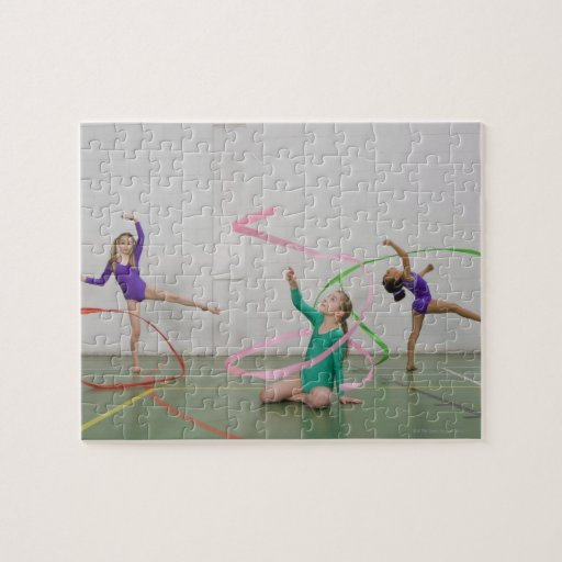 Gymnastics girls dancing with ribbons puzzles