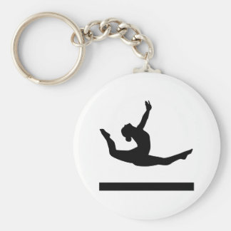 Gymnastics gymnast basic round button key ring