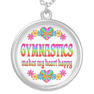 Gymnastics Heart Happy Silver Plated Necklace