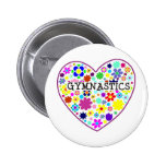 Gymnastics Heart with Flowers Badges