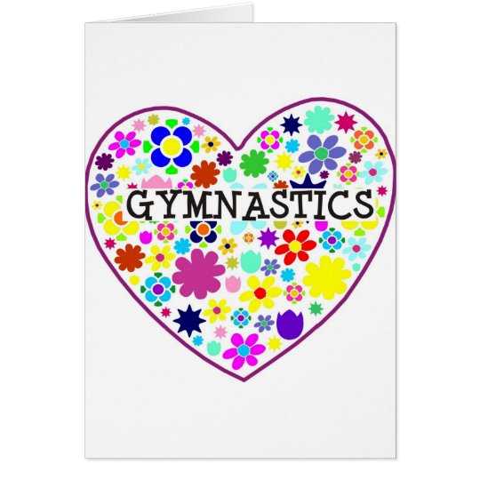 Gymnastics Heart with Flowers Card