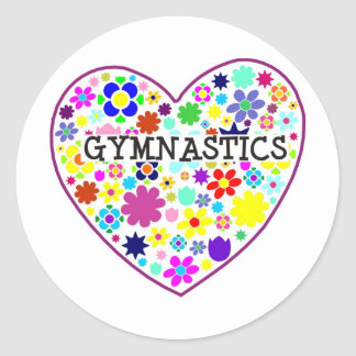 Gymnastics Heart with Flowers Classic Round Sticker