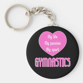 Gymnastics Life Passion Sport Basic Round Button Key Ring