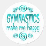 Gymnastics Make Me Happy Round Stickers