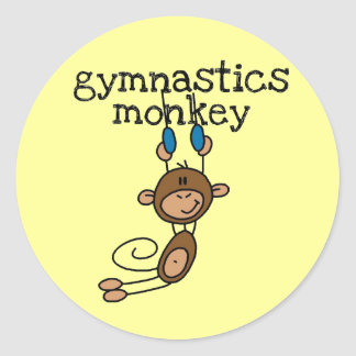 Gymnastics Monkey Classic Round Sticker