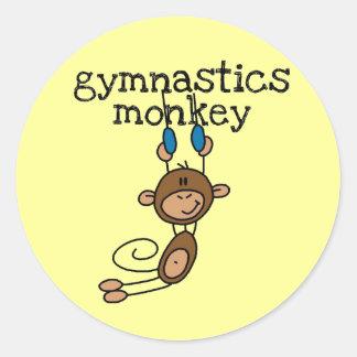 Gymnastics Monkey Round Sticker
