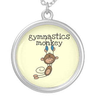 Gymnastics Monkey Silver Plated Necklace