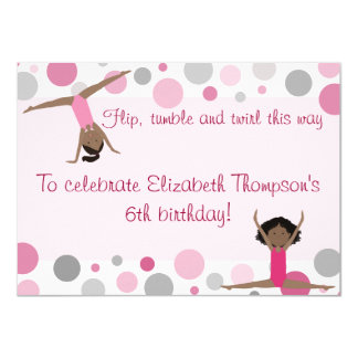 Gymnastics Party Dark Hair Girls In Pink and Gray 11 Cm X 16 Cm Invitation Card