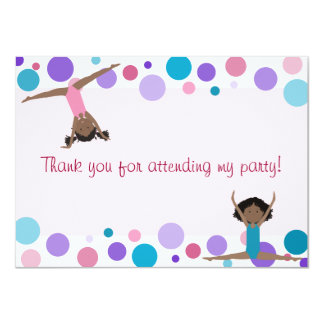 Gymnastics Party Flat Thank You in Aqua and Pinks 11 Cm X 16 Cm Invitation Card