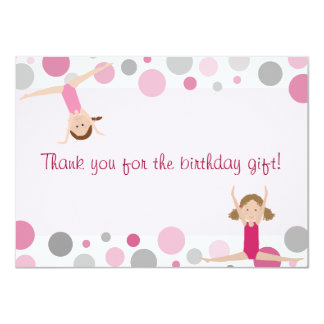 Gymnastics Party Flat Thank You in Pink and Gray 11 Cm X 16 Cm Invitation Card