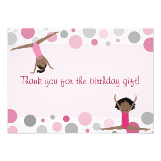 Gymnastics Party Flat Thank You in Pink and Gray Invite