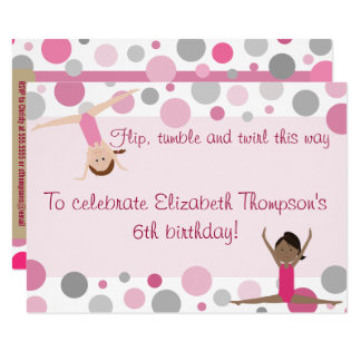 Gymnastics Party Invitation Pink and Gray