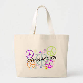 Gymnastics Peace Signs Large Tote Bag