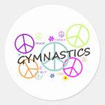 Gymnastics Peace Signs Round Sticker