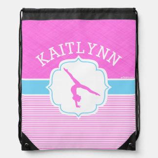 Gymnastics Pink Stripes with Baby Blue Drawstring Bag