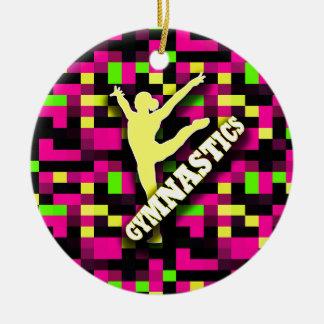 Gymnastics Pink Yellow Green Christmas Ornament