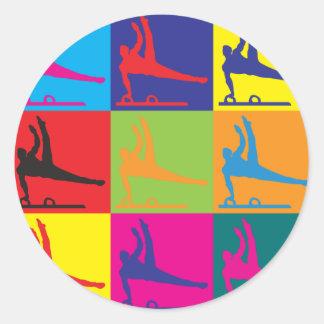 Gymnastics Pop Art Classic Round Sticker